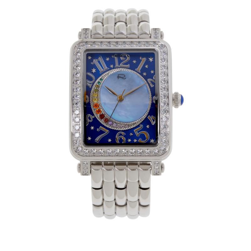 Rarities Stainless Steel Gemstone Accent Crescent Moon Bracelet Watch