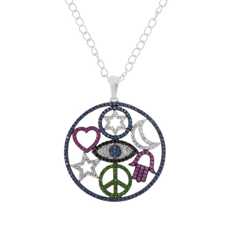 Rarities Sterling Silver Multi-Gemstone Talisman Pendant with Chain