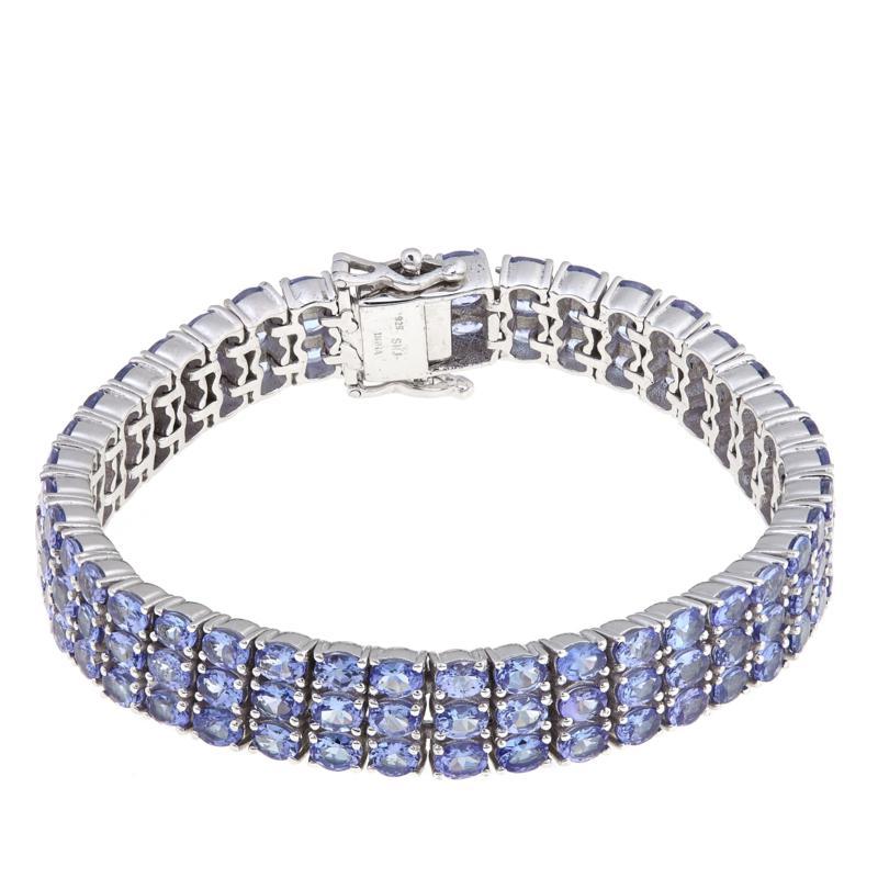 Rarities Tanzanite 3-Row Sterling Silver Line Bracelet