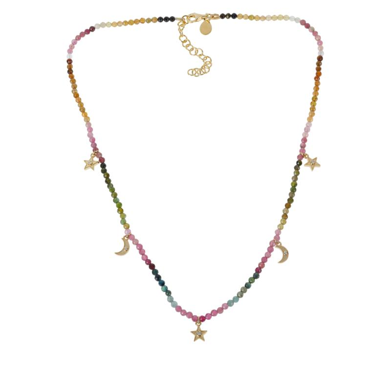 Rarities Tourmaline Faceted Bead and Zircon Charm Pendant Necklace
