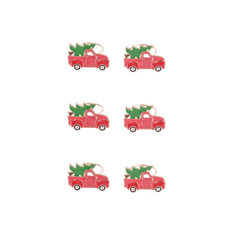 Red Truck Christmas Tree Napkin Ring 6-Pack