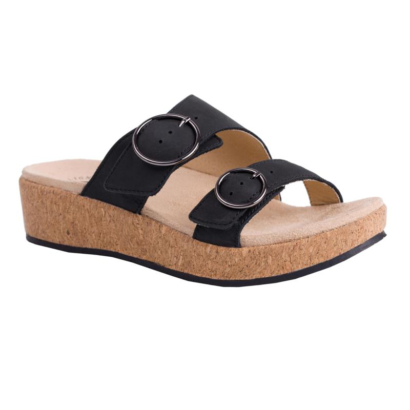 Revitalign Breakwater Cove Leather Adjustable Wedge Orthotic Sandal
