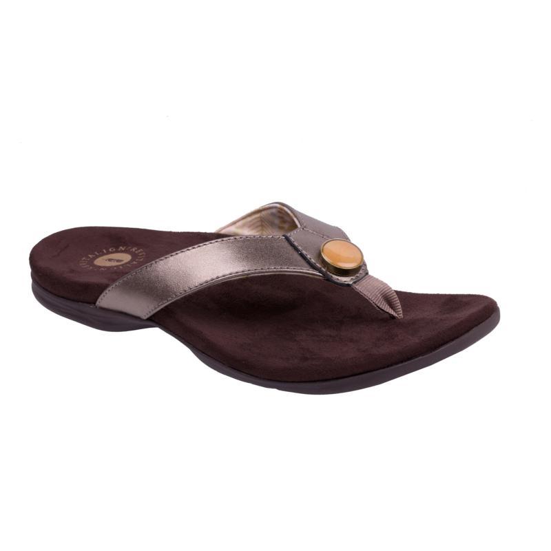 Revitalign Starling Leather Flip Flop Orthotic Sandal, Bronze & Black