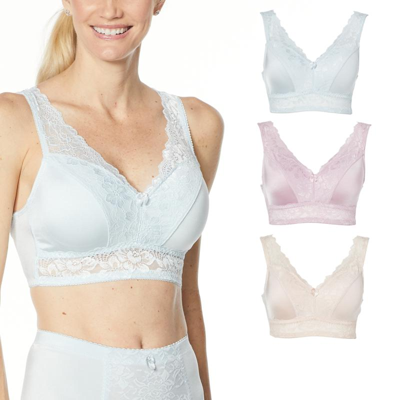 Rhonda Shear 3-pack Pin-Up Bra with Lace Back Detail