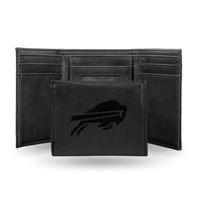 Rico Bills Laser-Engraved Black Trifold Wallet
