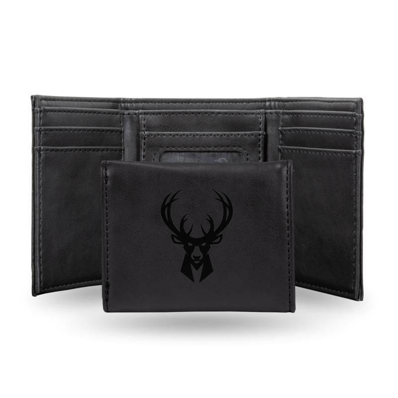 Rico Laser-Engraved Black Tri-fold Wallet - Bucks