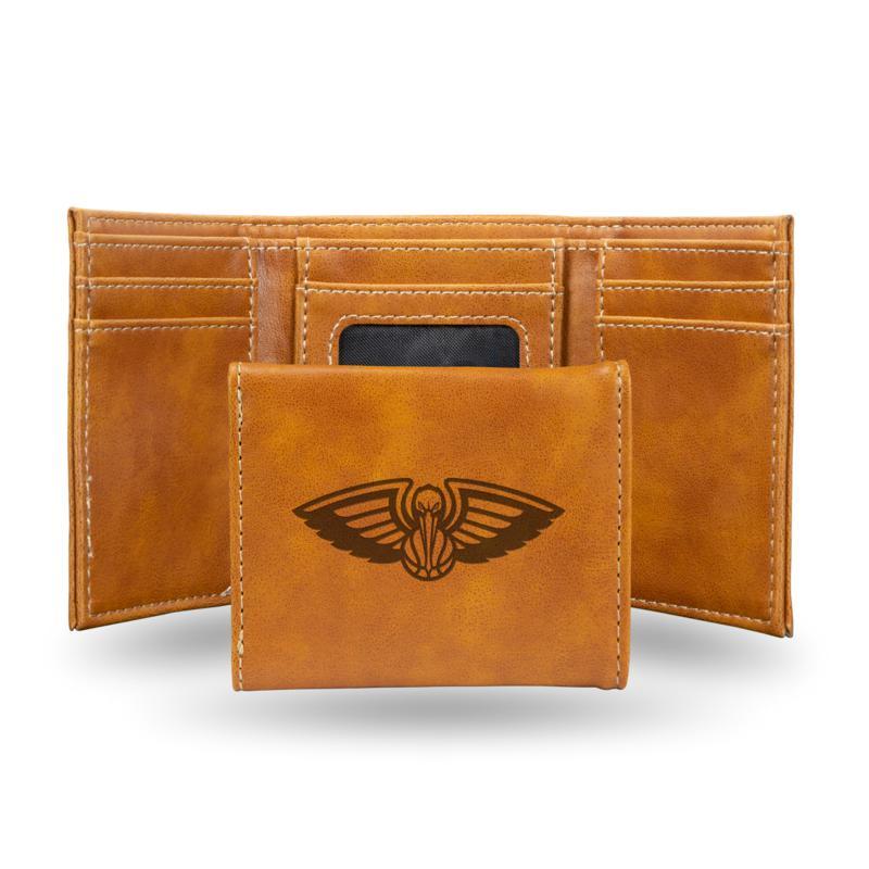 Rico Laser-Engraved Brown Tri-fold Wallet - Pelicans