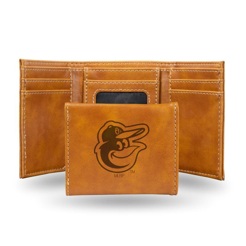 Rico Orioles Laser-Engraved Brown Trifold Wallet
