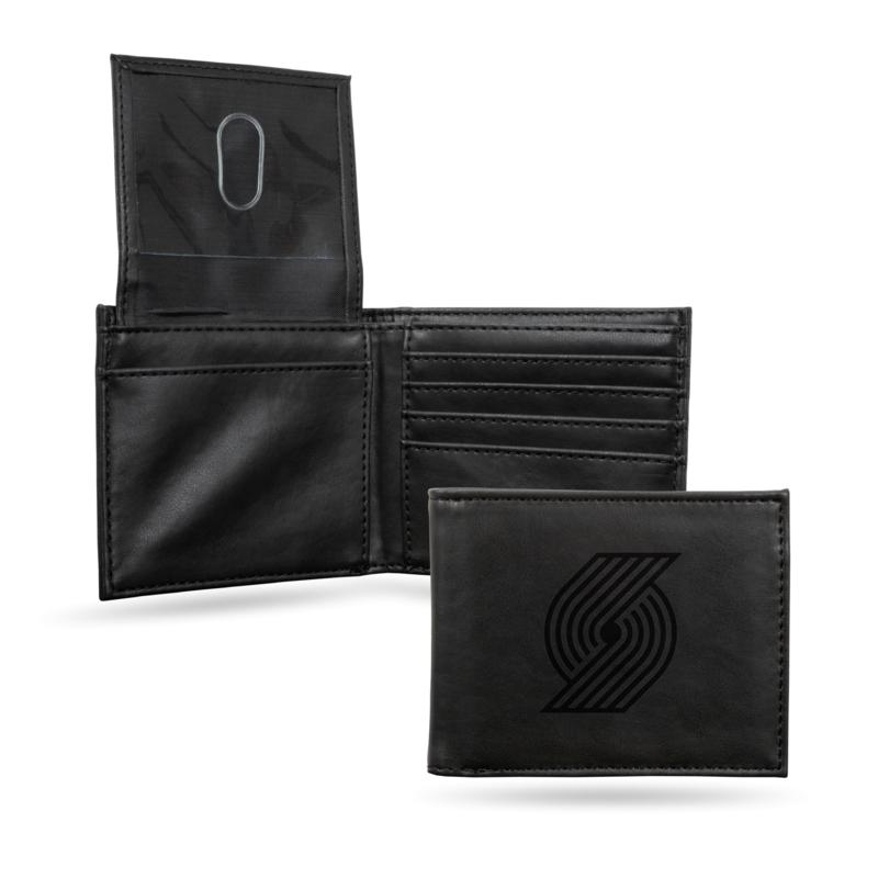 Rico Trail Blazers Laser-Engraved Black Trifold Wallet