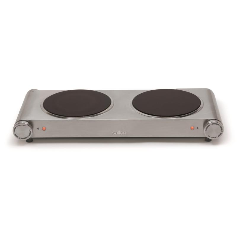 """Salton Double Stainless Steel Infrared Portable Electric Cooktop 7.4"""""""