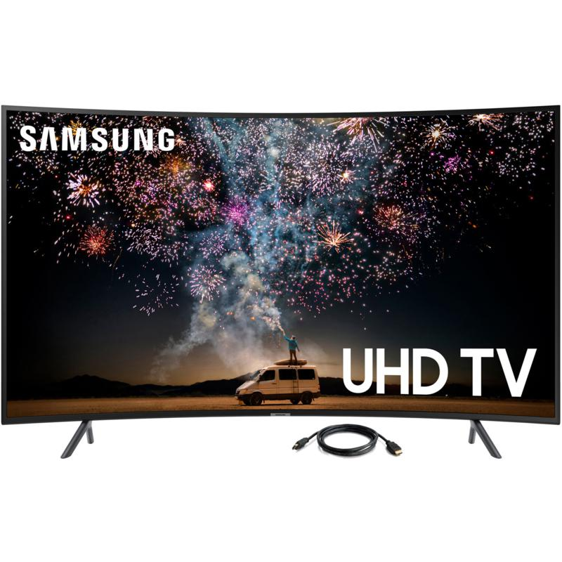 "Samsung RU7300 55"" 4K UHD Curved Smart TV with 6' HDMI Cable"
