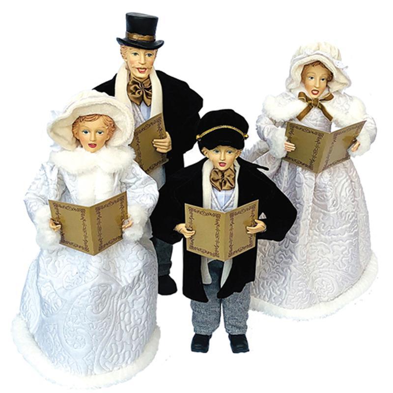 "Santa's Workshop 27""-37"" Caroling Family Figurines - White Dresses"