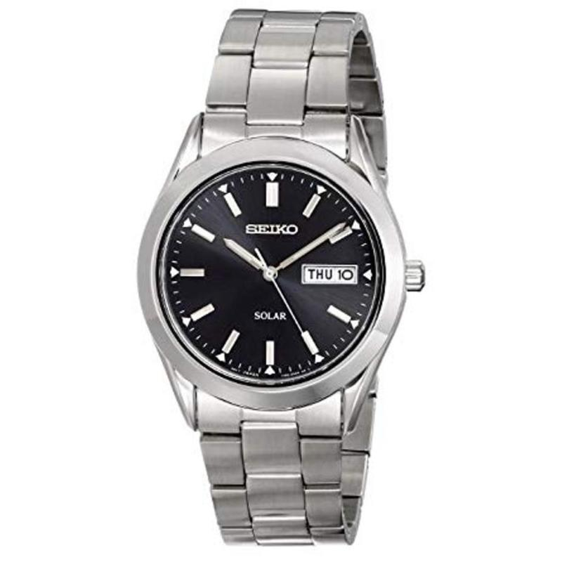 Seiko Men's Stainless Steel Black Dial Solar Watch