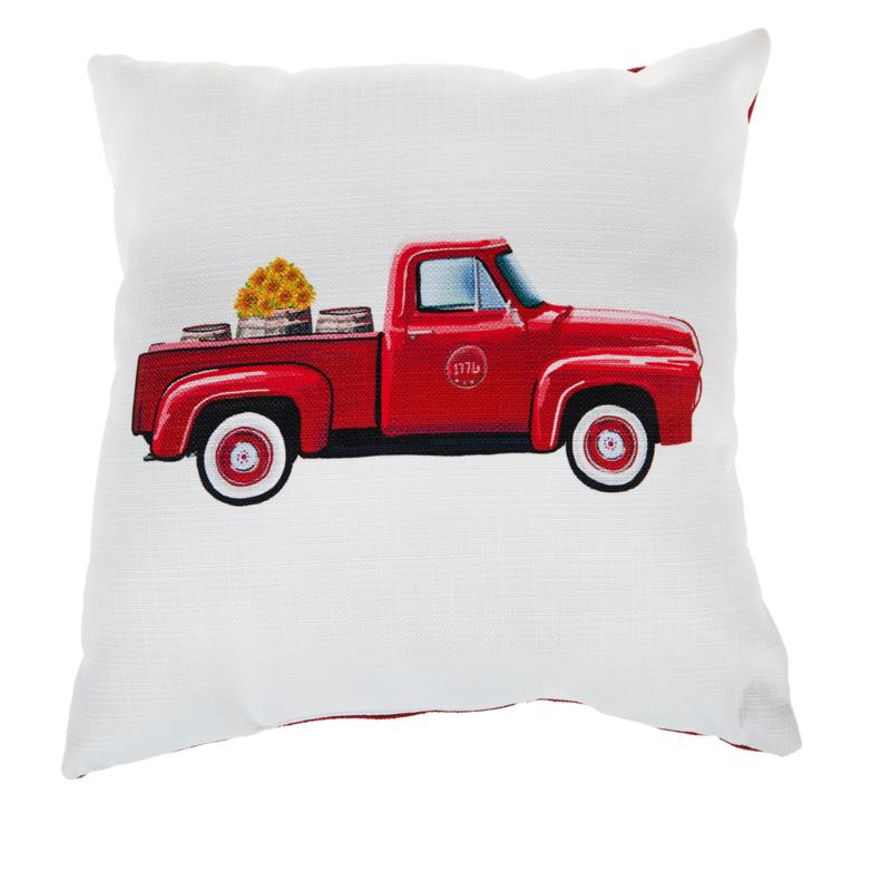 """Sewing Down South Red Truck 20"""" x 20"""" Throw Pillow"""