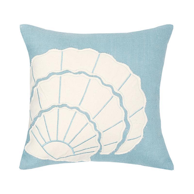 Shell Burlap Applique Pillow