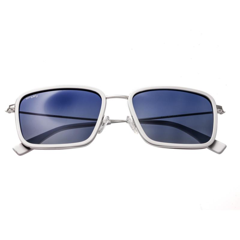 Simplify Parker Polarized Sunglasses with White Frames and Blue Lenses