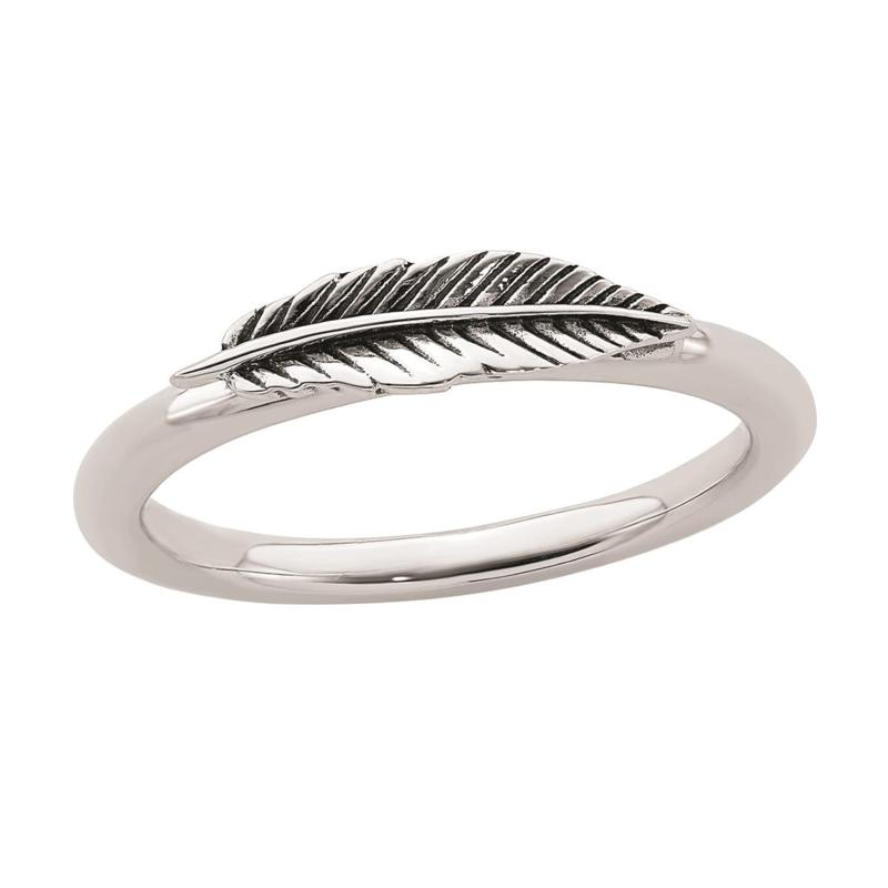 Simply Stacks™ Sterling Silver Antiqued Feather Ring