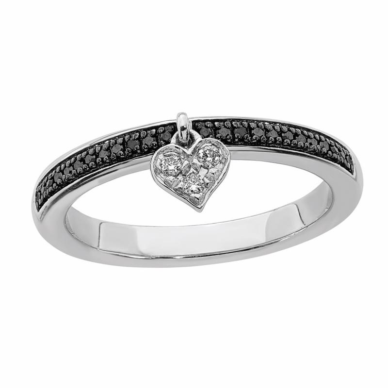 Simply Stacks™ Sterling Silver Black & White Diamond Heart Dangle Ring