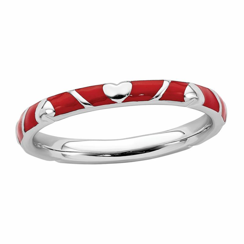Simply Stacks™ Sterling Silver Enamel Hearts and Stripes Band Ring