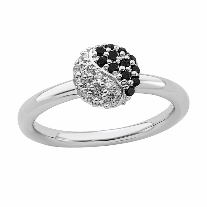 Simply Stacks Sterling Silver White Topaz and Onyx Yin Yang Ring