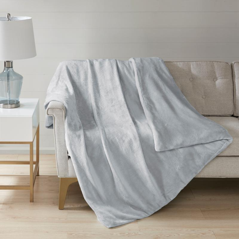 Sleep Philosophy Plush Solid Gray 25 lb. Weighted Blanket