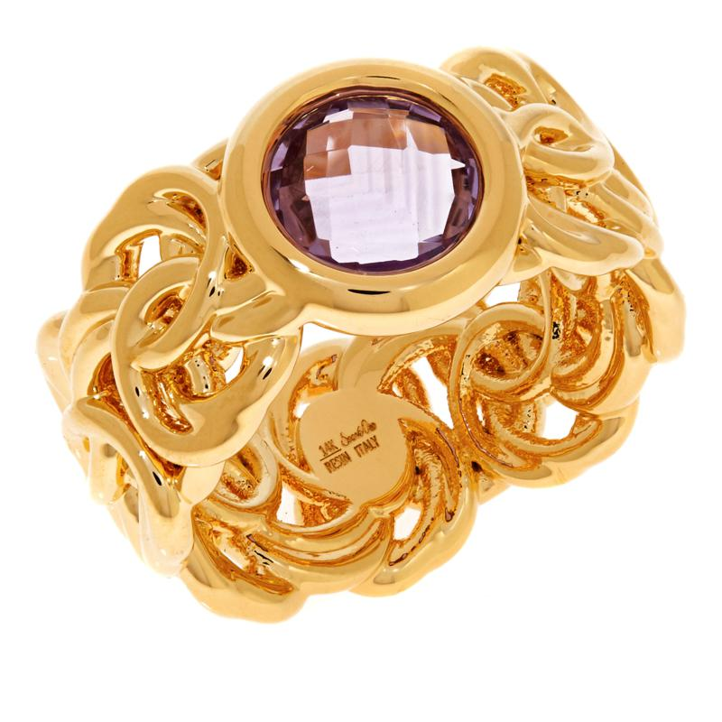 Soave Oro 14K Gold Electroform Gemstone Byzantine Ring