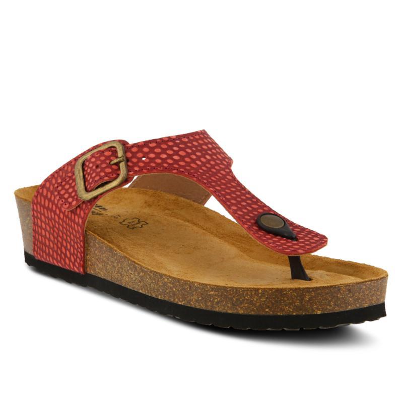 Spring Step Estelle Embossed Leather Thong Sandal