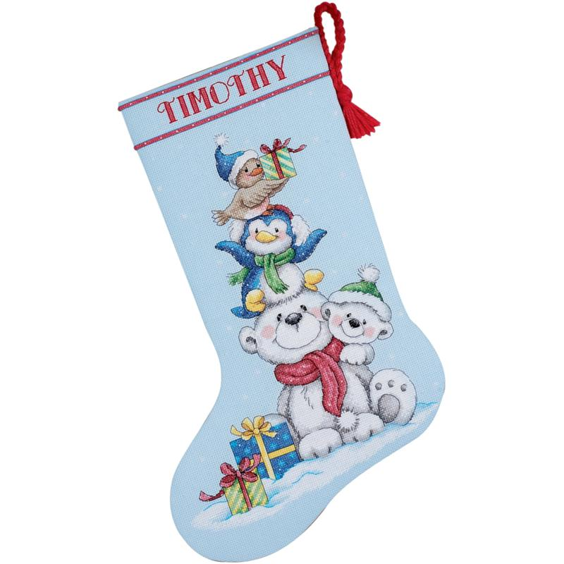 Stack Of Critters Counted Cross-Stitch Stocking Kit