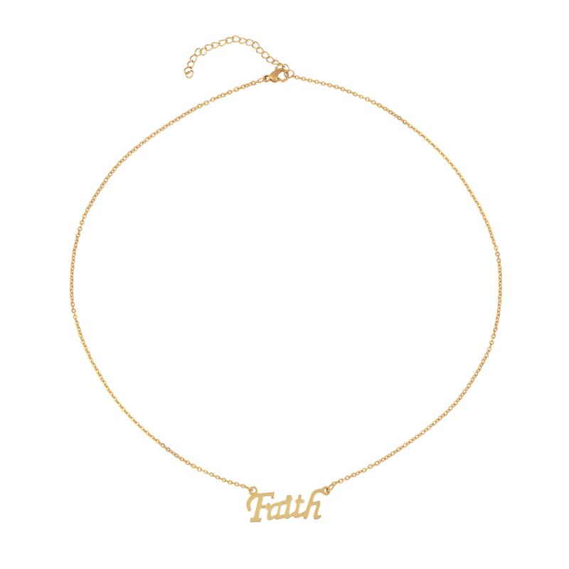 "Stately Steel 18"" Goldtone Faith Necklace"