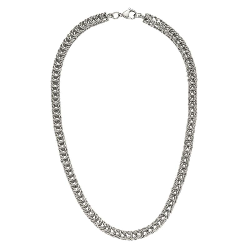 """Stately Steel 18"""" Spiga Chain Necklace"""