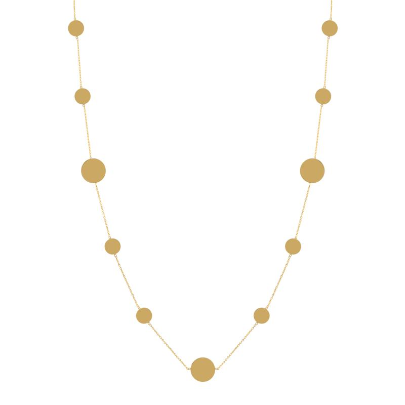 """Stately Steel 36"""" Stainless Steel Disc Station Necklace"""