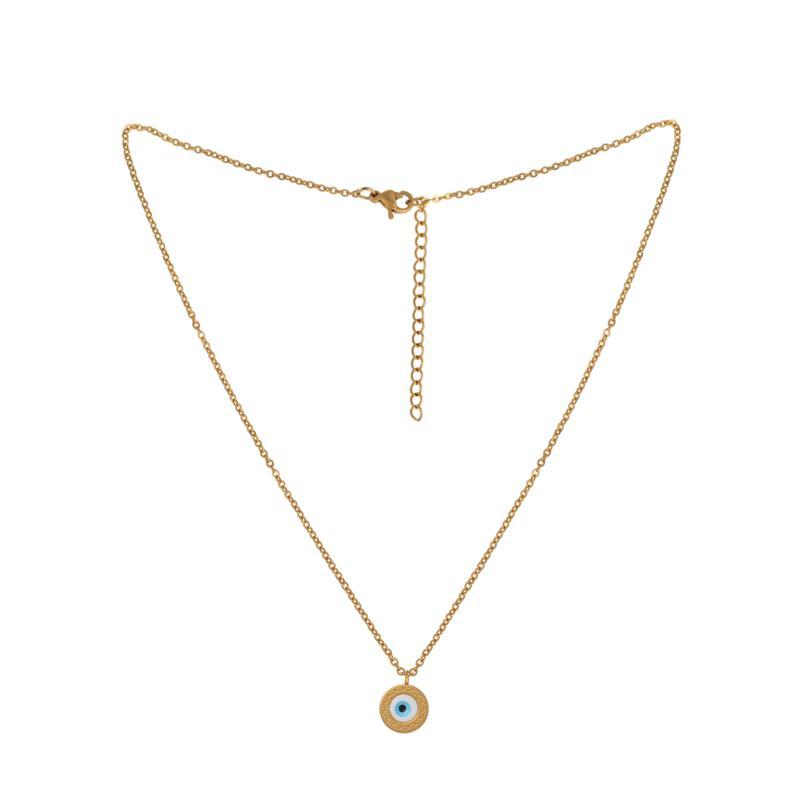 Stately Steel Evil Eye Pendant Necklace