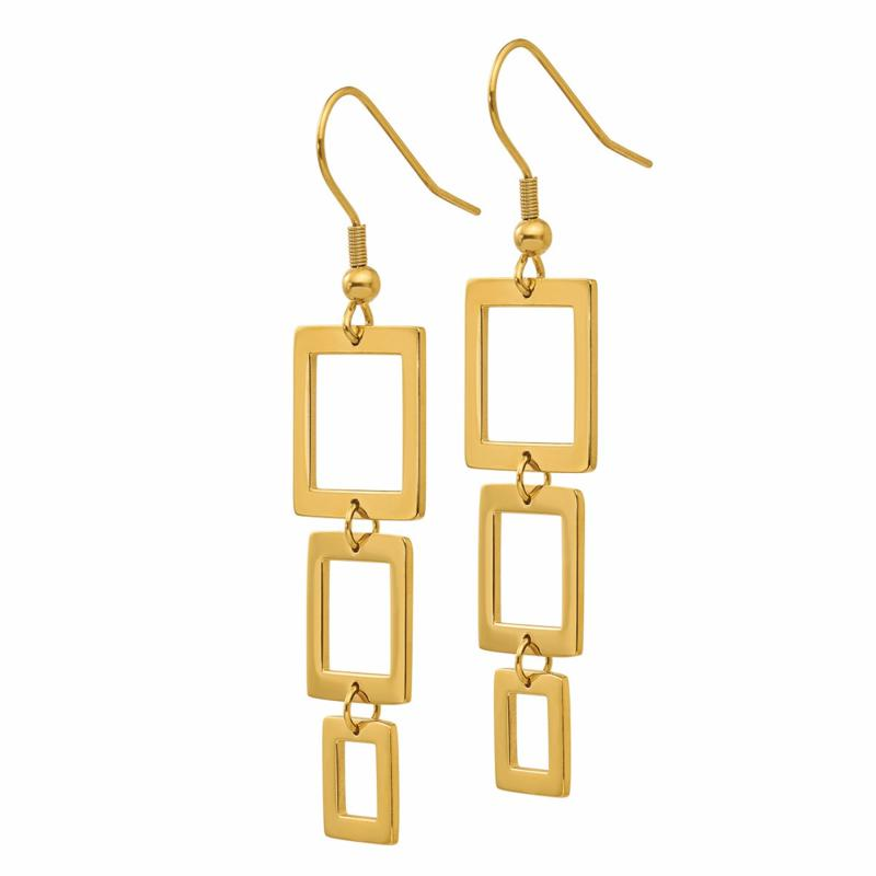 Stately Steel Graduated Square Dangle Earrings