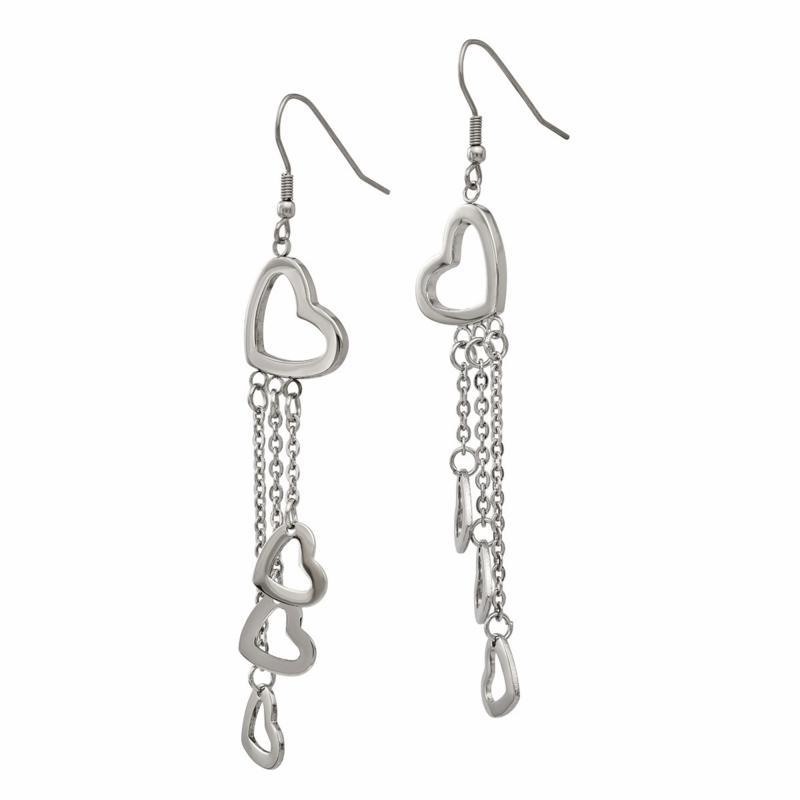 Stately Steel Multi-Heart Chain-Link Dangle Earrings