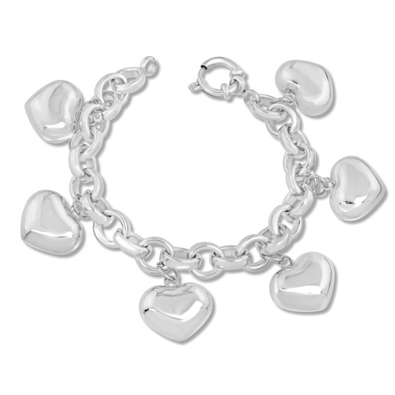Stately Steel Puffed Heart Charm Bracelet
