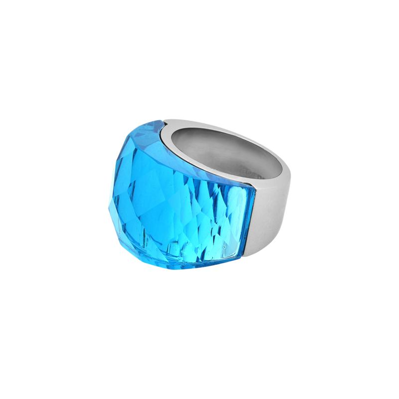 Stately Steel Sea Blue Glass Ring