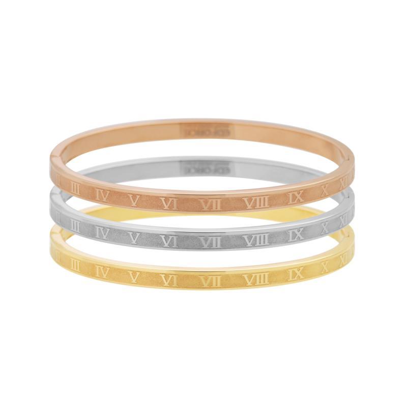 Stately Steel Tri-Color Roman Number 3-piece Bangle Set