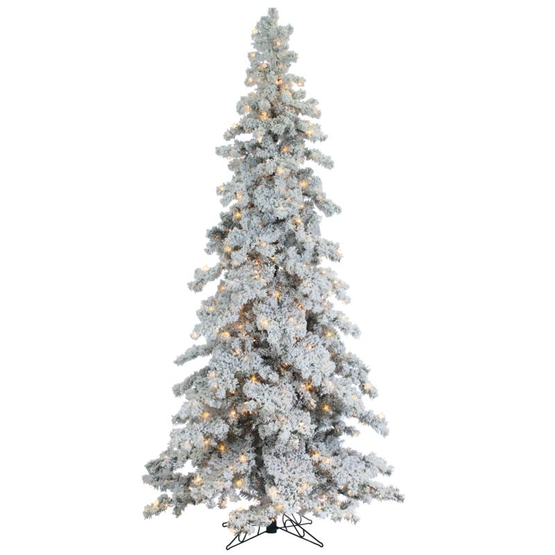 Sterling 9' Heavy Flocked Spruce Lighted Christmas Tree