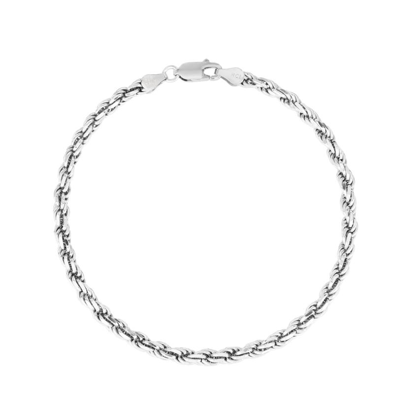 """Sterling Silver 3.6mm Diamond-Cut Solid Rope Chain Bracelet - 8-1/2"""""""