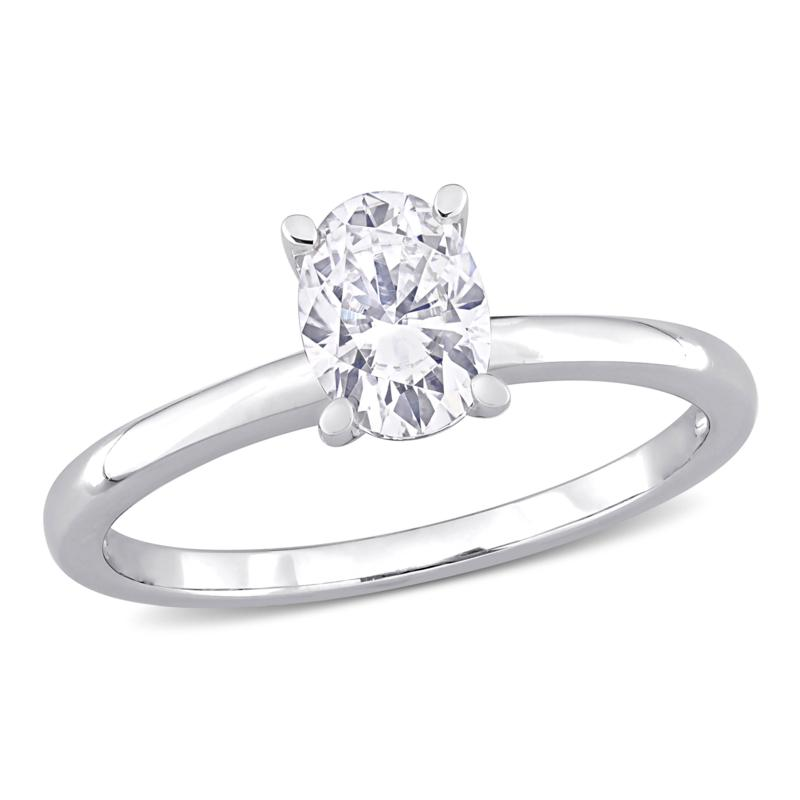 Sterling Silver .75ctw Created Moissanite Oval Solitaire Ring
