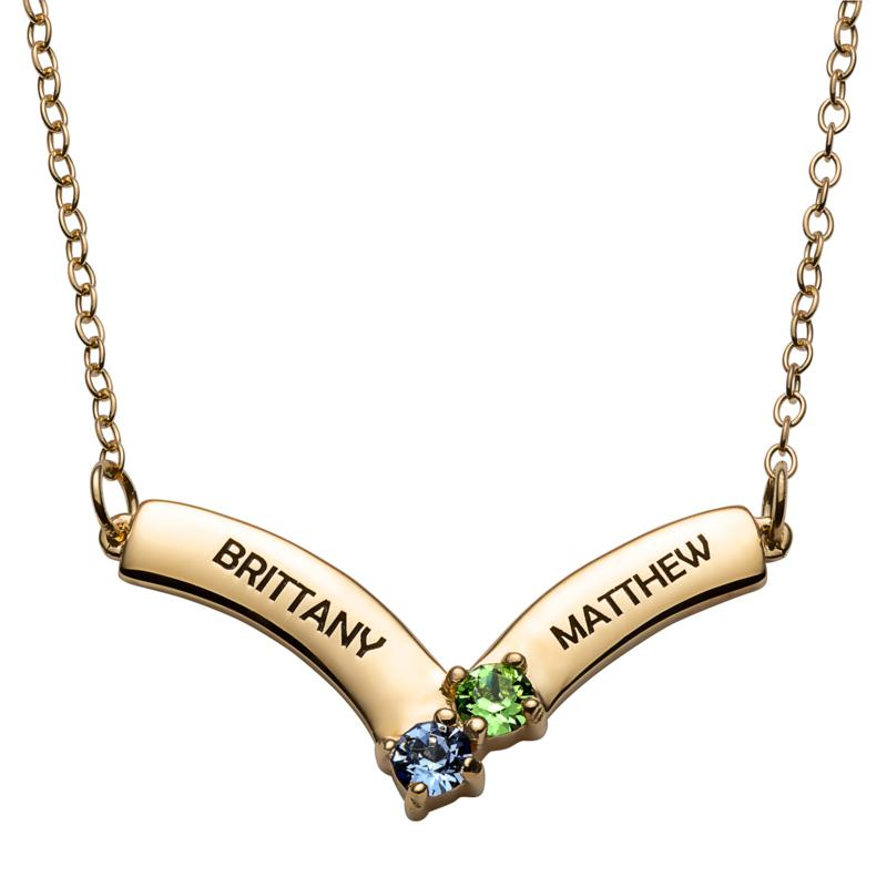 Sterling Silver Birthstone Crystal Engraved Name Chevron Necklace