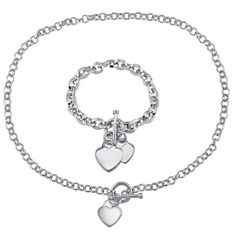 Sterling Silver Chain Link Necklace and Bracelet with Heart Charms