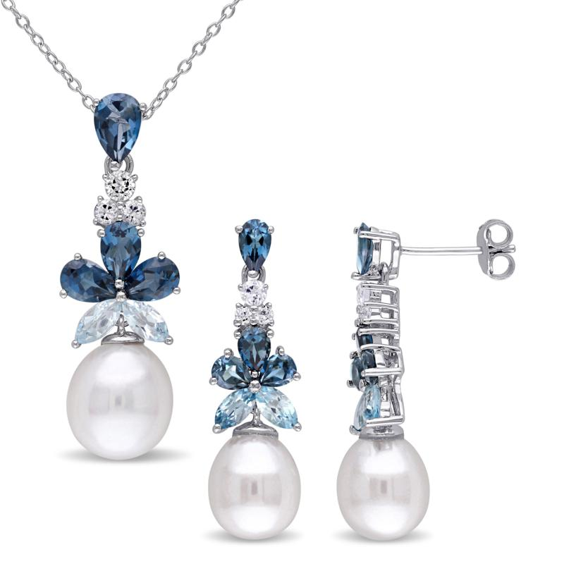 Sterling Silver Cultured Pearl and Topaz Drop Earrings and Pendant
