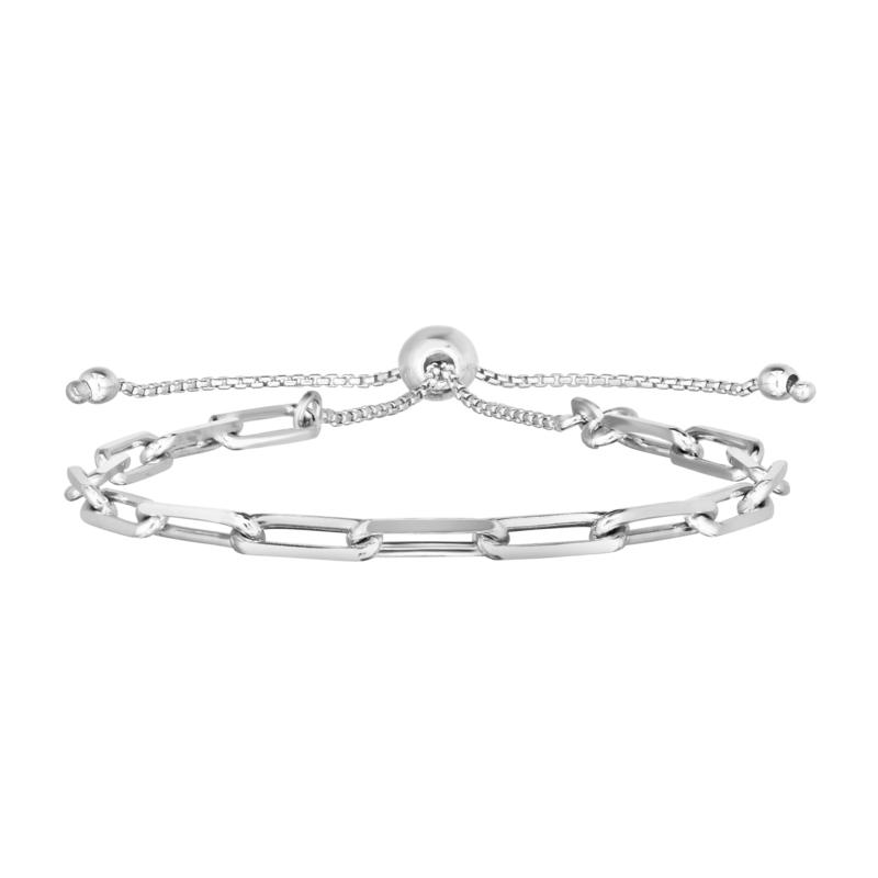 "Sterling Silver Diamond-Cut Paperclip 9-1/2"" Bolo Bracelet"