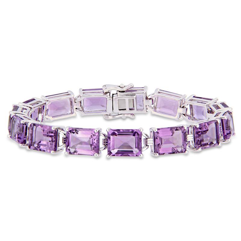 Sterling Silver Emerald-Cut Amethyst Tennis Bracelet