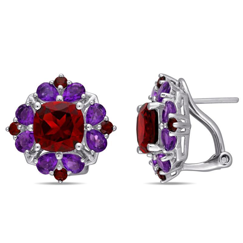 Sterling Silver Garnet and Amethyst Quatrefoil Floral Earrings