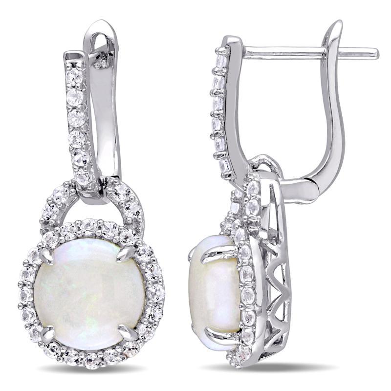 Sterling Silver Opal and White Topaz Hoop Charm Earrings