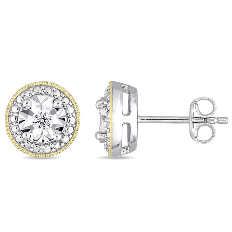Sterling Silver Two-Tone .10ctw Diamond Filigree Stud Earrings