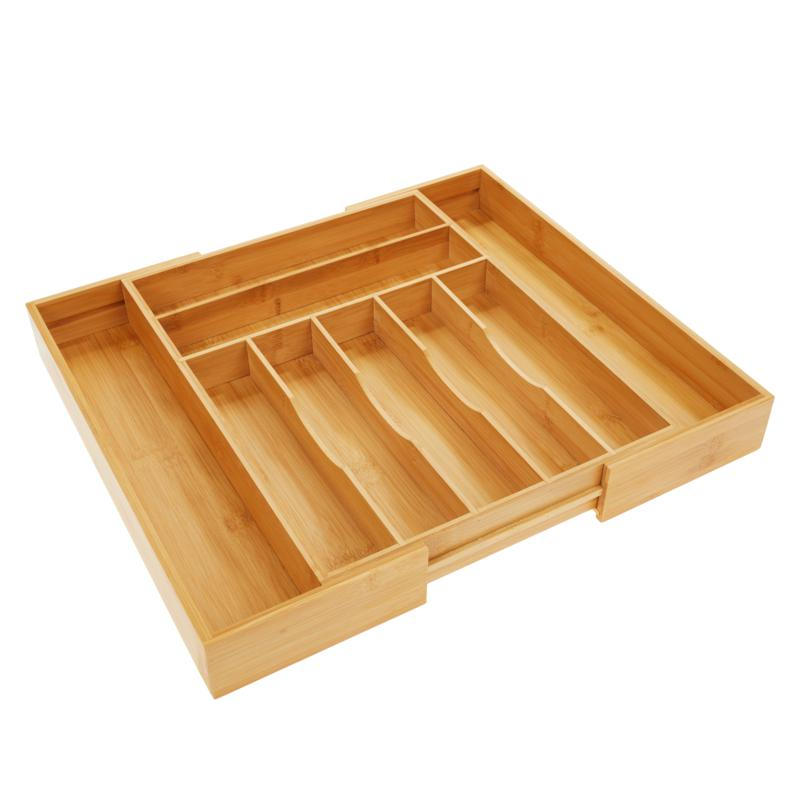 StoreSmith Bamboo Expandable Kitchen Drawer Organizer