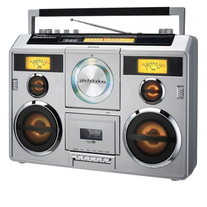 Studebaker 80's Retro Bluetooth Boombox w/Radio, Cassette & CD Player